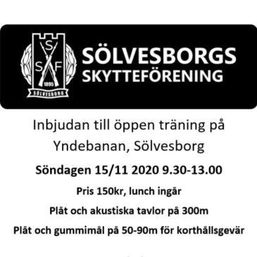 Nu med rätt datum! Inbjudan till öppen träning på Yndebanan i Sölvesborg 15e November
